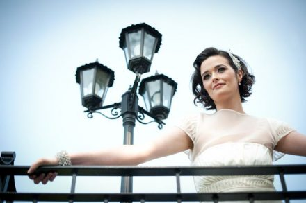 bride with lights